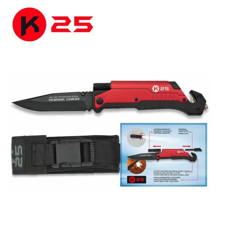 Navaja Tactica con Pedernal y Linterna K25 Roja