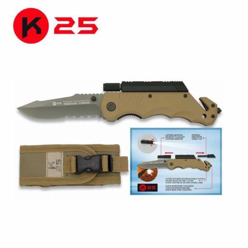 Navaja Tactica K25 con Pedernal y Linterna  Coyote