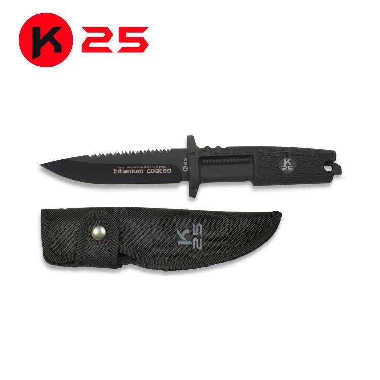 Cuchillo Tactico con Mango de Goma K25