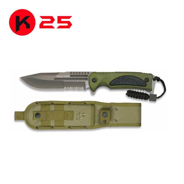 Cuchillo Tactico con Paracord  K25 Verde