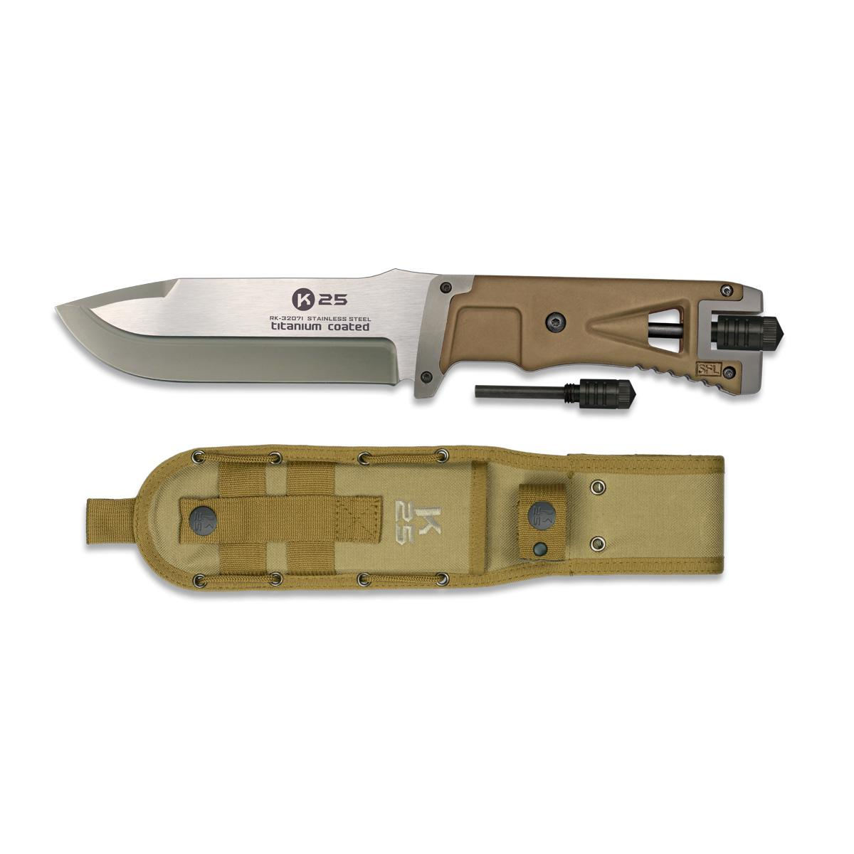 Cuchillo Tactico con Pedernal K25 Coyote