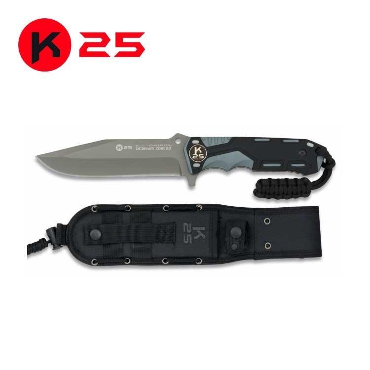 Cuchillo Tactico con Paracord K25 Gris/Negro
