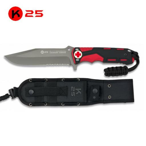 Cuchillo Tactico con Paracord - Cruz Roja