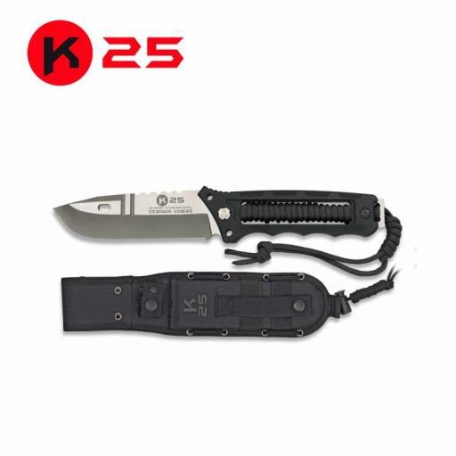 Cuchillo Tactico K25 Encordado Negro