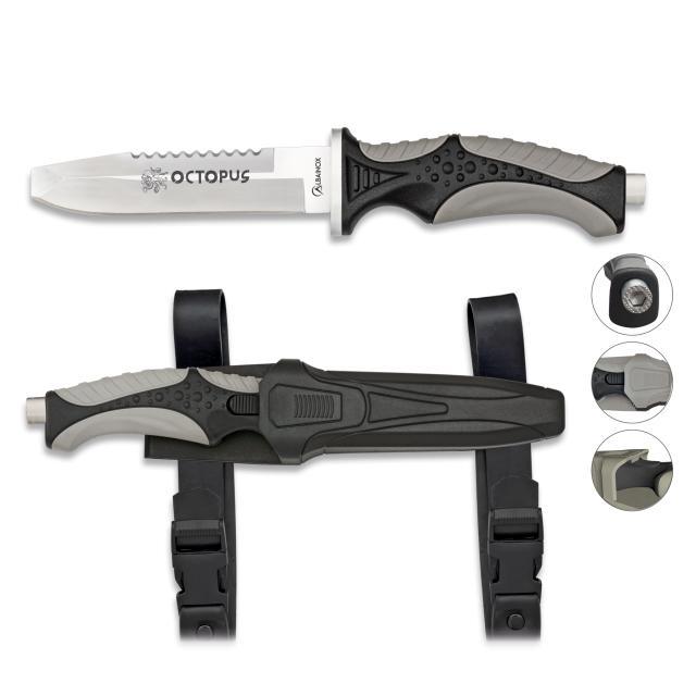 Cuchillo Submarinismo Negro OCTOPUS