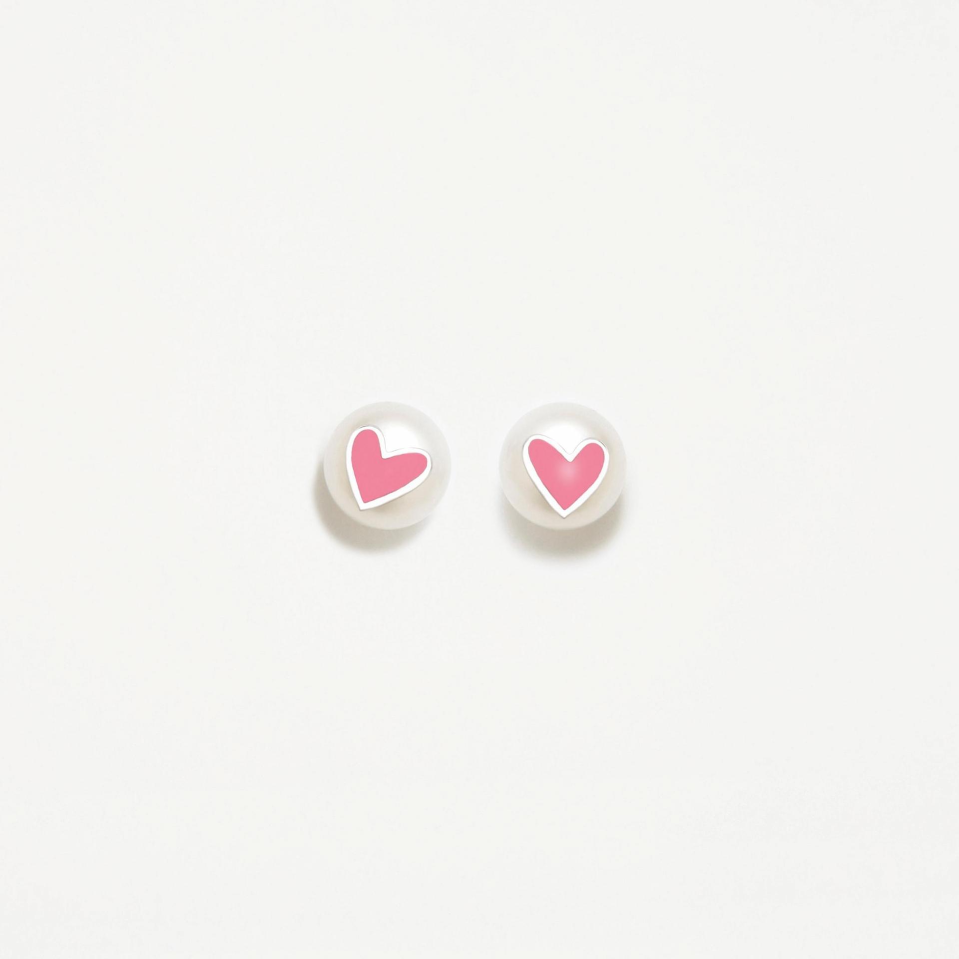 Pendientes plata Agatha Ruiz de la Prada  perla corazón rosa