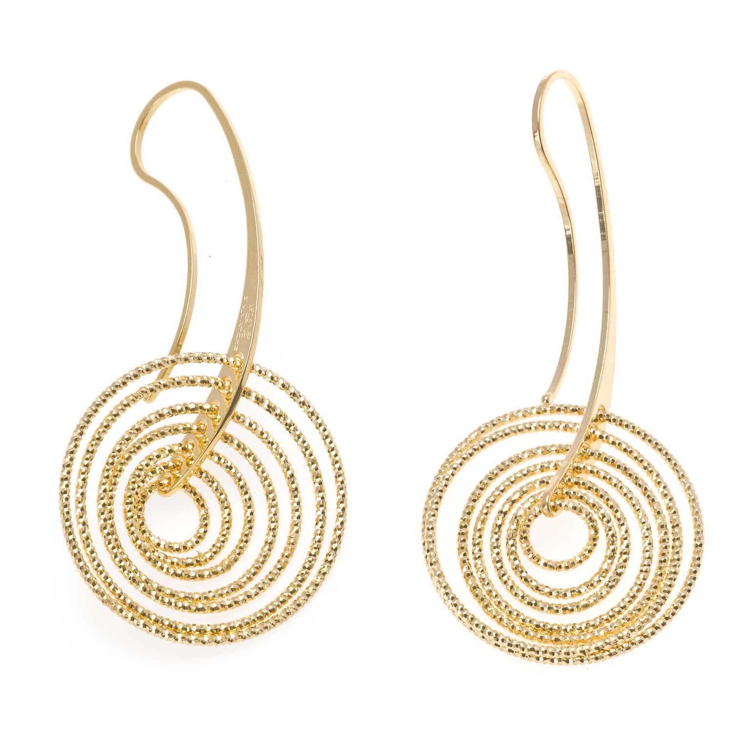 Pendientes plata Salvatore aros  diamantados dorados