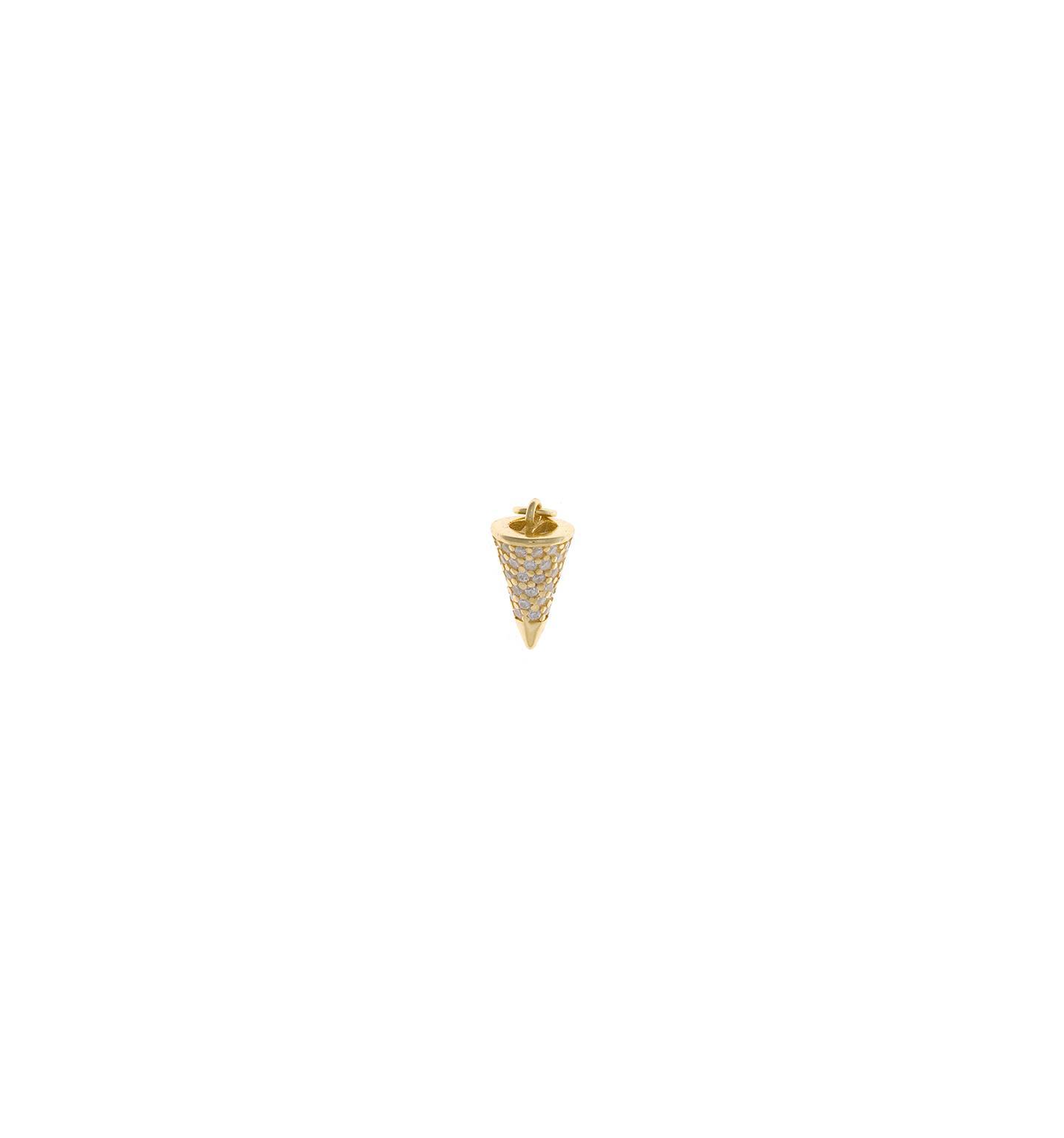 Charm  plata Salvatore cono con circonitas blancas dorado