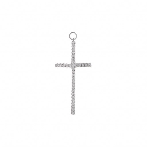 Charm  plata Salvatore cruz grande con circonitas blancas