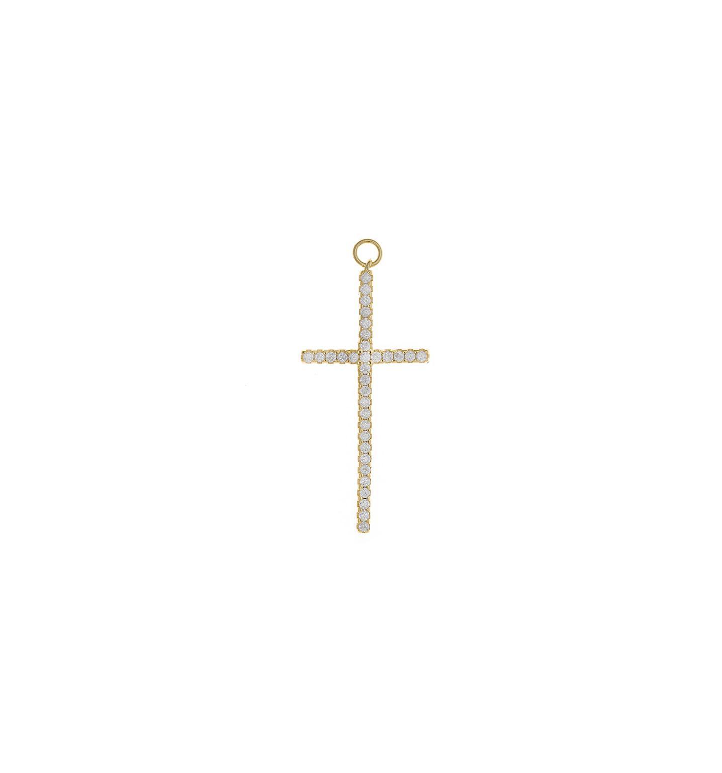Charm  plata Salvatore cruz grande con circonitas blancas dorado