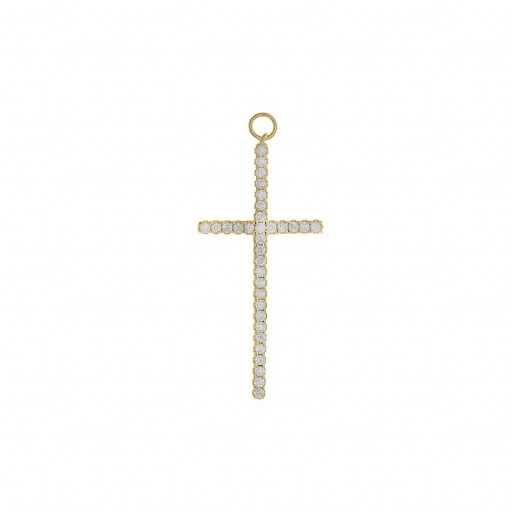 Charm  plata Salvatore cruz grande con circonitas blancas dorado [0]