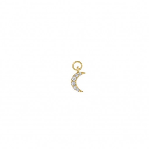 Charm  plata Salvatore luna con circonitas blancas dorado