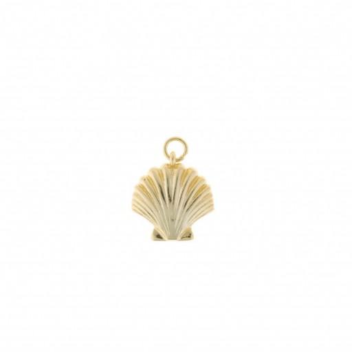 Charm plata Salvatore dorado con forma de concha