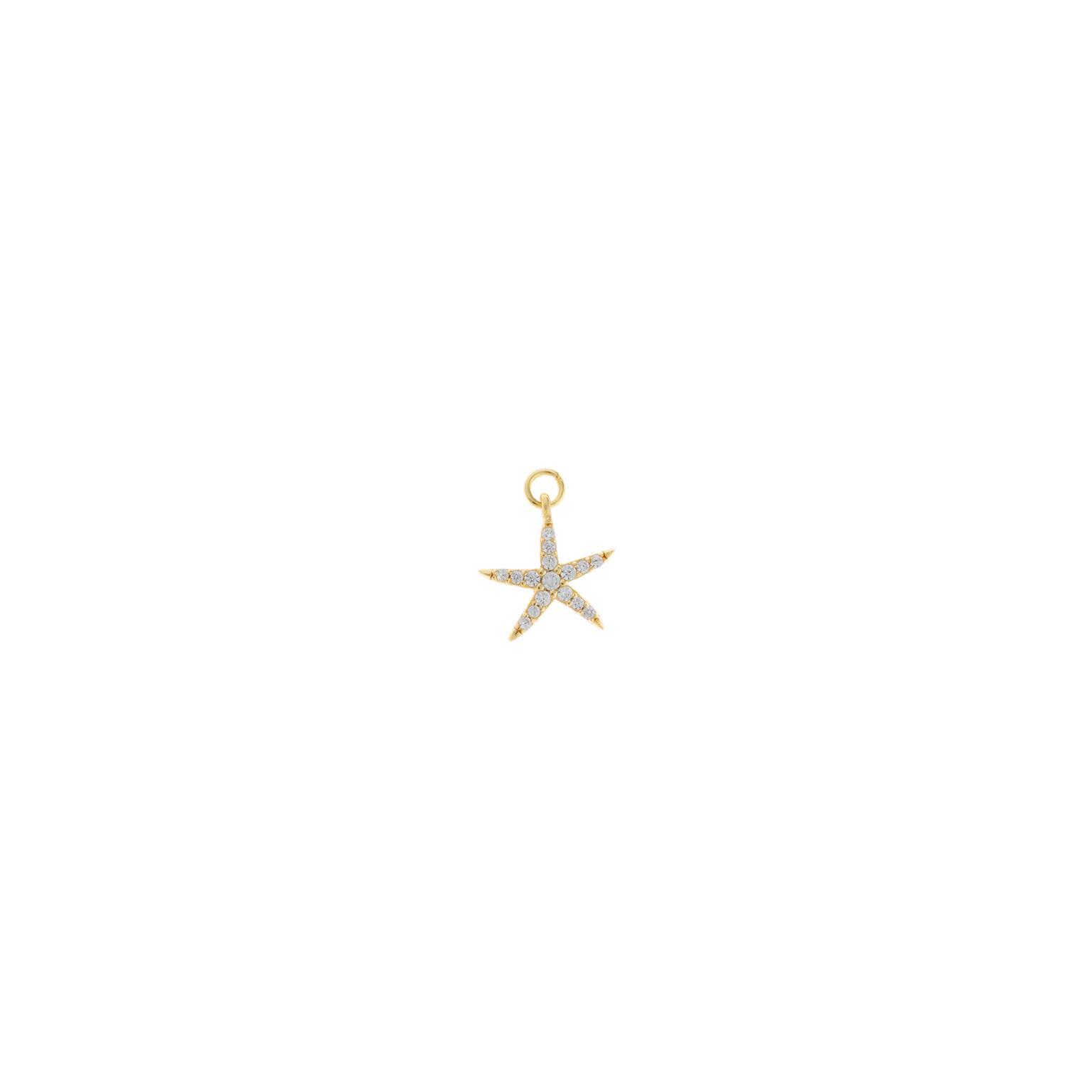 Charm plata Salvatore dorado estrella de mar con circonitas blancas brillantes
