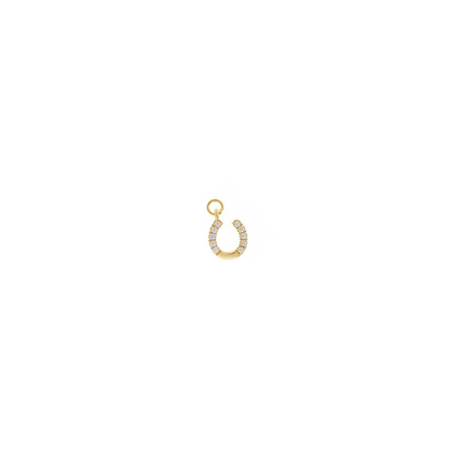 Charm plata Salvatore dorado herradura con circonitas blancas brillantes