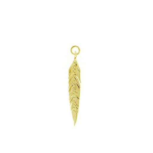 Charm plata Salvatore dorado con forma de pluma estilada [0]