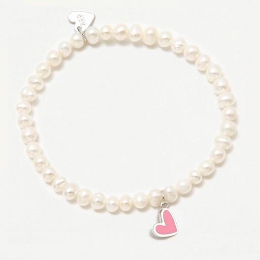 Pulsera  elástica Agatha Ruiz de la Prada  perlas naturales y charm plata corazón rosa