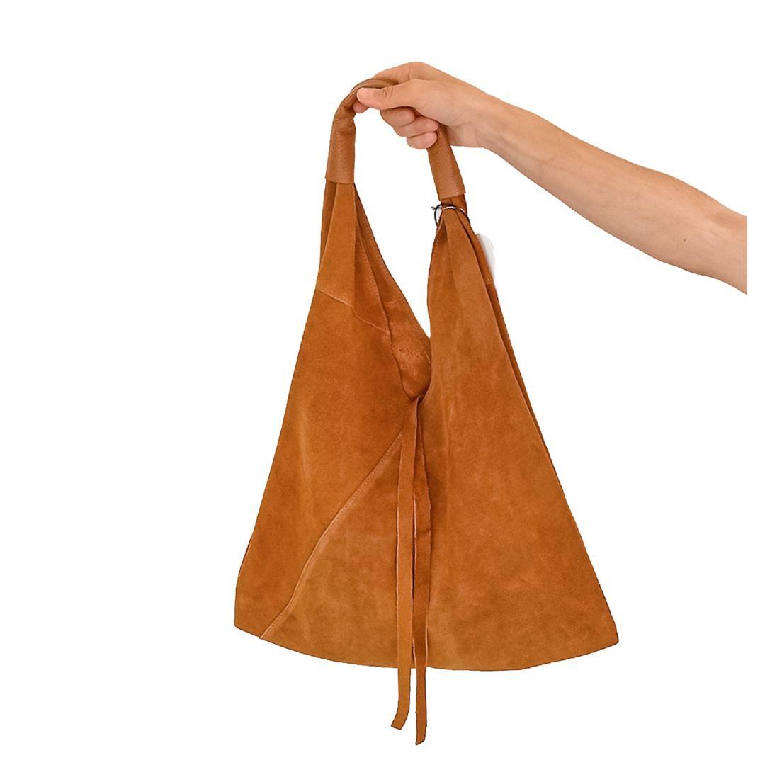 Bolso saco piel serraje camel