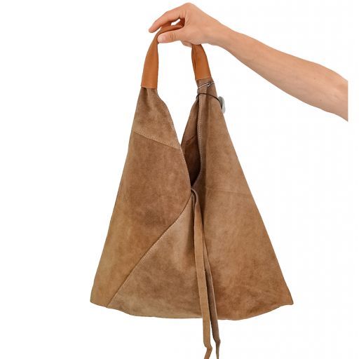 Bolso saco piel serraje taupe