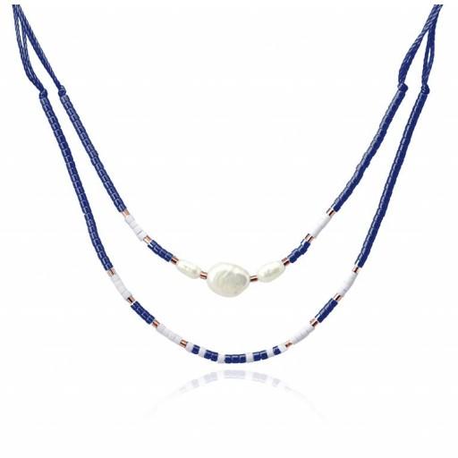 Colgante doble algodón Anartxy perlas y piedras azul