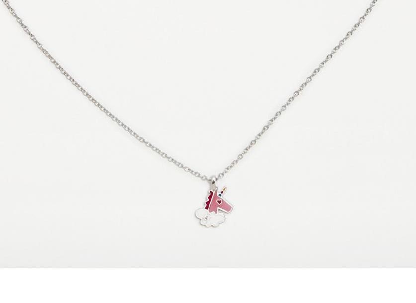 Colgante  plata Agatha Ruiz de la Prada  Unicornio rosa con circonita blanca