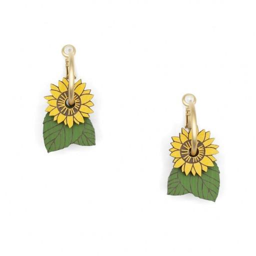Pendientes  de aro Materia Rica  Sunflowers