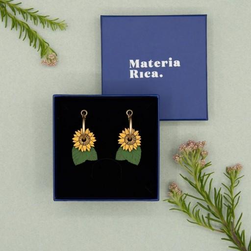 Pendientes  de aro Materia Rica  Sunflowers [2]