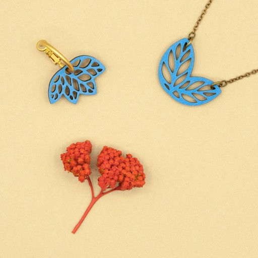 Pendientes  de aro Materia Rica  dos hojas azules en dos tonos [3]