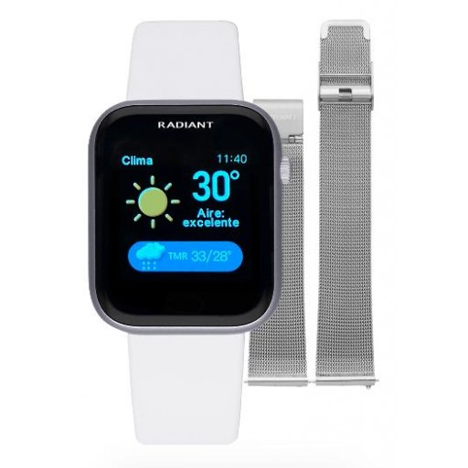 Smart watch de Radiant   Manhatthan 35mm IP Plateado doble correa blanca