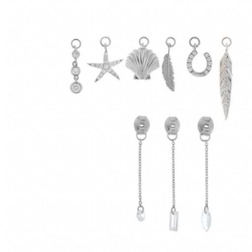 Charm  plata Salvatore cadena con circonita blanca brillante [2]