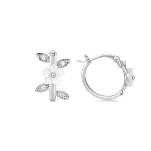 Pendientes plata TsiruLuxenter  aro con flor madre perla y circonitas brillante