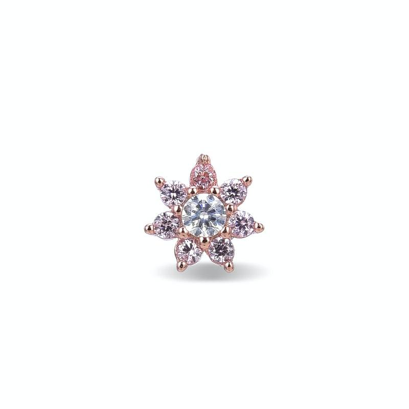 Piercing plata Fanti Luxenter rosado circonitas turmalina rosa