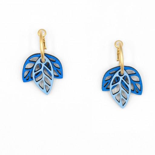 Pendientes  de aro Materia Rica  dos hojas azules en dos tonos