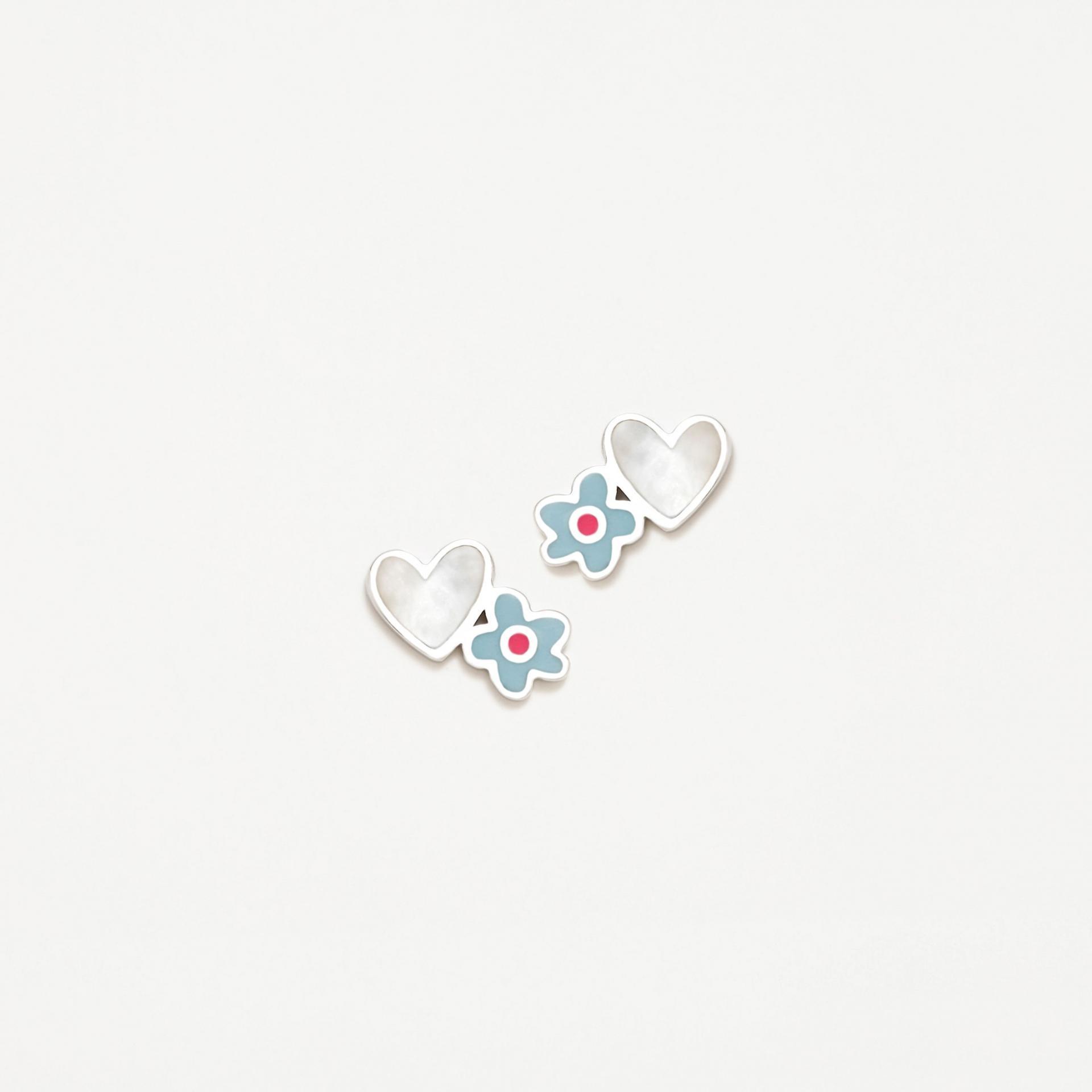 Pendientes plata Agatha Ruiz de la Prada  flor azul  corazón madreperla