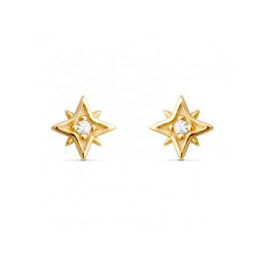 Pendientes  plata Vagora Luxenter  estrella dorada pequeña