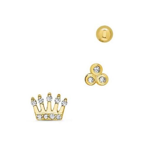Set  tres pendientes  plata Pilar Breviati  formados por corona, circonitas y bola  dorados