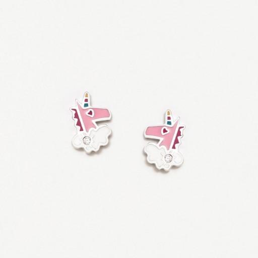 Pendientes plata Agatha Ruiz de la Prada  Unicornio rosa con circonita blanca