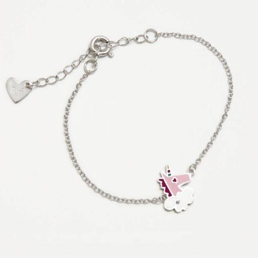 Pulsera  plata Agatha Ruiz de la Prada  Unicornio rosa con circonita blanca