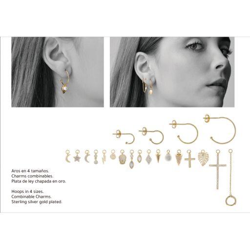 Charm  plata Salvatore rombo con circonitas blancas dorado [1]