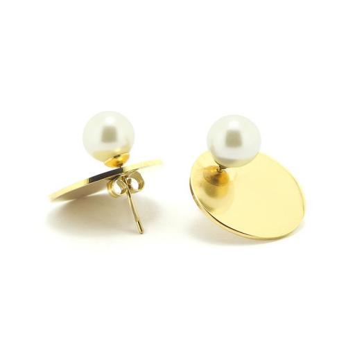 Pendientes acero perla dorados