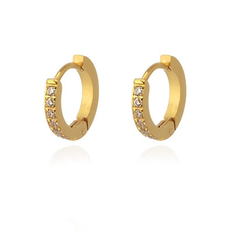 Aros acero Anartxy 13mm con circonitas dorados