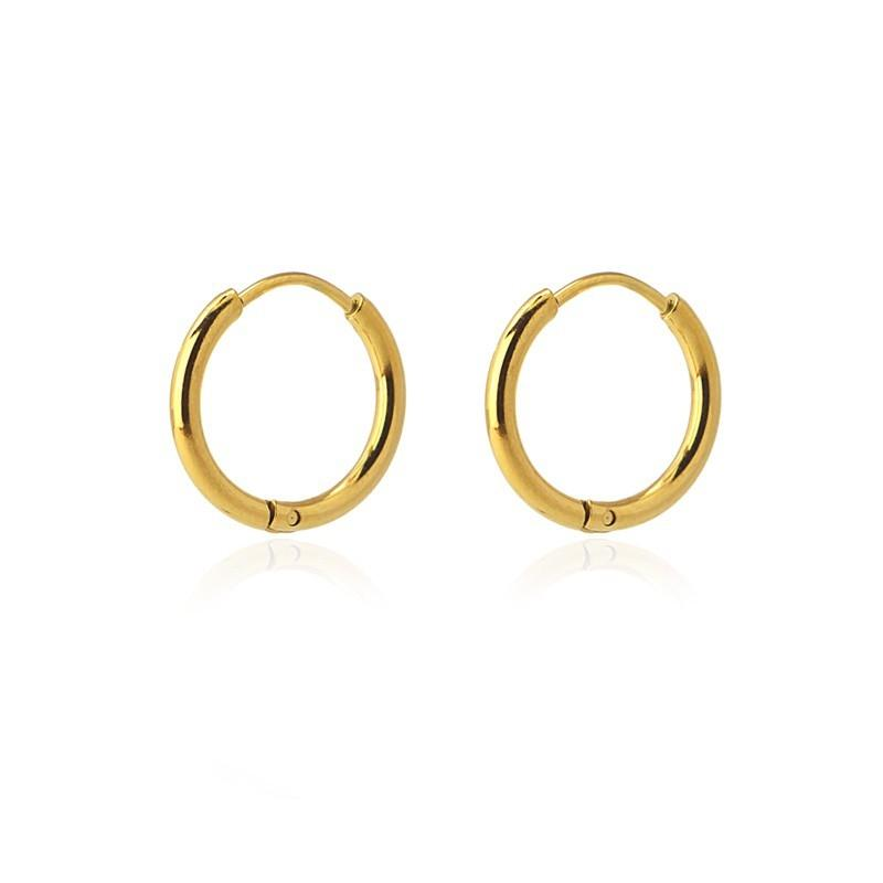 Aros acero Anartxy 14mm de sección circular dorados