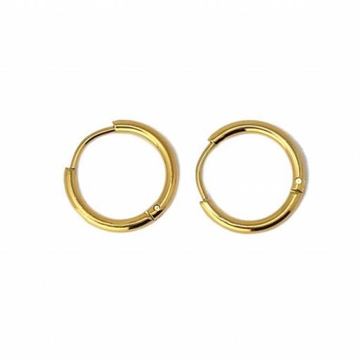 Aros acero Anartxy 14mm de sección circular dorados [1]