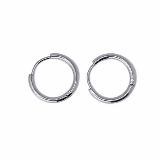Aros acero Anartxy 14mm de sección circular plateados [1]