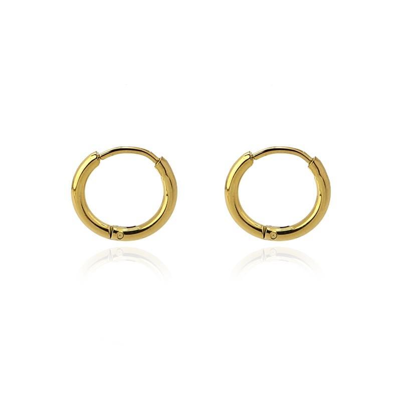 Aros acero Anartxy 10mm de sección circular dorados