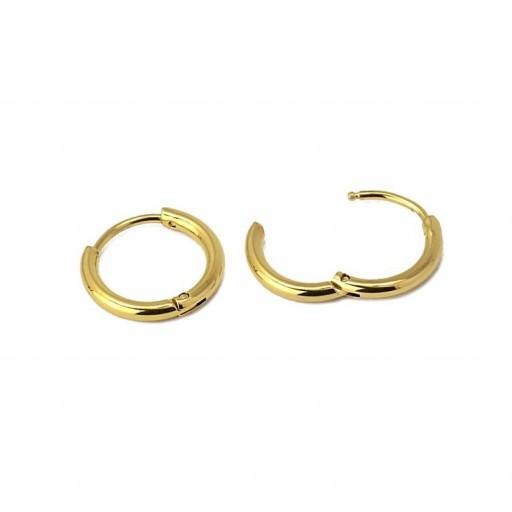 Aros acero Anartxy 10mm de sección circular dorados [1]