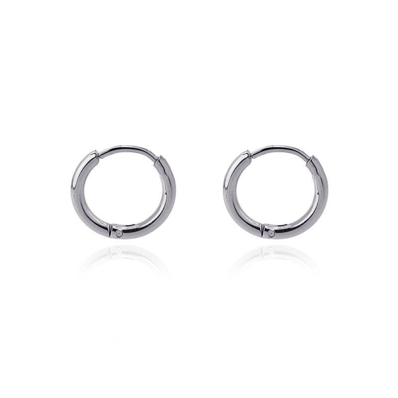 Aros acero Anartxy 10mm de sección circular plateados