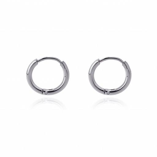Aros acero Anartxy 10mm de sección circular plateados [0]