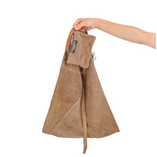 Bolso saco piel serraje verde oliva [1]