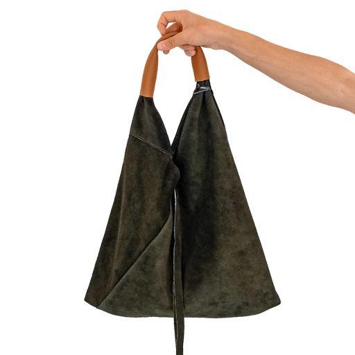 Bolso saco piel serraje verde oliva